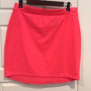 Fluorescent pink skirt